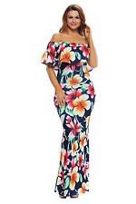 Sexy Mother Gift Navy Floral Roses Print Off Shoulder Maxi Dress Size 8 10 12 14