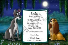 LADY AND THE TRAMP Personalised Party Invitations Thank You Cards A6 Glossy +Env