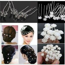 18pcs Wedding Bridal Women Lady Prom Crystal Pearl Flower Hair Pin Clips Jewelry