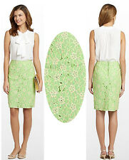 $158 Lilly Pulitzer Hyacinth New Green Pique Two Tone Lace Pencil Skirt 8