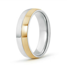 6 MM High Polished Men's Wedding Band 14k White & Yellow Solid Gold Ring Size 13