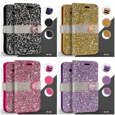 LUXURY BLING DIAMOND WALLET RHINESTONE FLIP CASE WITH CARD HOLDER FOR PHONES