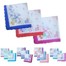 12x Ladies Womens Vintage Hankie Floral Handkerchief Wendding Party Fabric Hanky