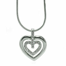 Rhodium Plated Double Heart Pendant Necklace made with SWAROVSKI® Crystals