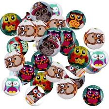50pcs 20mm 2-hole Mixed Wooden Buttons for Sewing Decoration, Balls & Owls