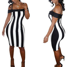 New Sexy Womens Cold Shoulder Short Sleeves Black White Vertical Striped Dress