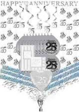 Silver 25th Wedding Anniversary Party Pack supplies balloons banner confetti etc