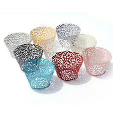 EF06 50 Filigree Little Vine Laser Cut Cupcake Wrapper Liner Baking Cup SD