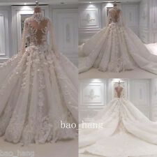 Appliques Beads Wedding Dresses Long Train High Neck Luxury Bridal Gowns Sleeves