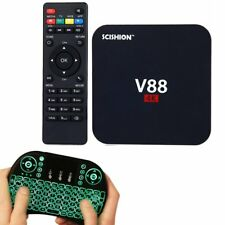 8G 4K V88 Android 5.1 Smart TV Box Quad Core Free Movies + Backlit Keyboard Lot