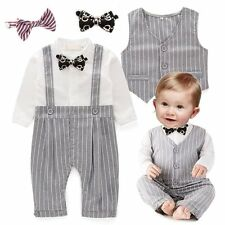 Baby Boy Wedding Christening Formal Tuxedo Suit+Waistcoat Outfit Cloth Set 0-24M