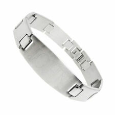 "Stainless Steel 8"" Men's Personalized I-Beam Link Bracelet FREE ENGRAVING"