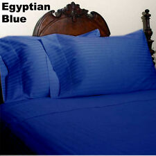 Egyptian Blue Striped 3 PC Fitted Sheet Set 1200TC Egyptian Cotton US-Sizes