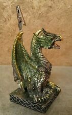 Fantasy Gothic DRAGON With a Handle Green Glitter Resin Figurine - H: 11 cm