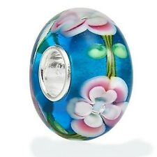 Authentic .925 silver core Blue Pink Murano Glass Bead for Bracelet