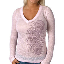 Ladies Long Sleeve GLITTER SKULLS Deep V Top PINK Womens Burnout t-shirt V-Neck