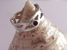 Handcrafted Braided 925 Sterling Silver Braided Celtic Ring withNatural Red Ruby