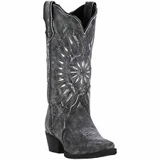 Laredo Womens Black Starburst Leather Cowboy Boots 12in Cutout