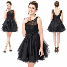 Elegant Sleeveless V-Back LACE & ORGANZA Ball Cocktail Evening Prom Party Dress