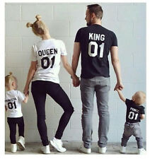 New King and Queen Shirt Couple Matching Tee Lovers Top Casual T-Shirt Blouse