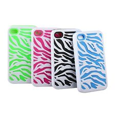 Zebra Combo Hard Soft Case Cover Protector For iPhone 4 4S Silicone Armor Case