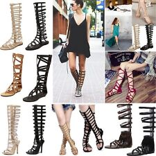 Womens Ladies Flat Knee High Gladiator Sandals Strappy Beach Cut Out Boots Size