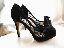 Black Satin Lace Stiletto Heels Peep Toe with Large Bow Size UK 8