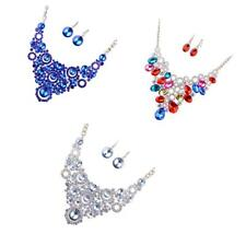 Wedding Bridal Round Crystal Beads Statement Bib Necklace Earrings Jewelry Set