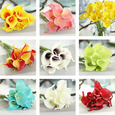 10PCS Real Touch Wedding Bridal Bouquet Artificial Calla Lily Home Party Decor