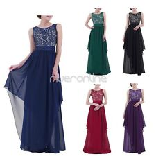 Womens Vintage Formal Bridesmaid Evening Gown Party Prom Gown Chiffon Long Dress