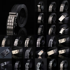 Fashion Mens Belt Black Automatic Buckle Genuine Leather Waist Strap Belts