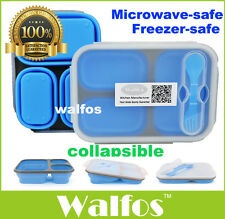 Silicone Microwave 3 Compartments Bento Lunch Box Set Kids Lunchbox Microwave