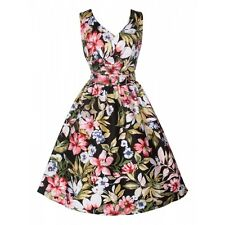 Dolly And Dotty May V-neck 50's Style Floral Dress in Tropical Print Sizes10-16