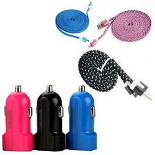 USB to Micro Data Sync 2.0 Fabric Flat Braided Cable & 2 Dual port Car Charger