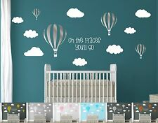 Kids Nursery Room Air Balloons Clouds & Quote Large Pack Pro Wall Decal Stickers