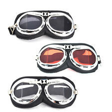 Helmet Chrome Leather Eyewear Goggles Motorcycle Vintage Pilot Biker Black Lens
