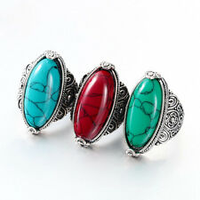 Ethnic Style Women Tibetan Flower Antique Silver Plated Turquoise Ring Jewellery