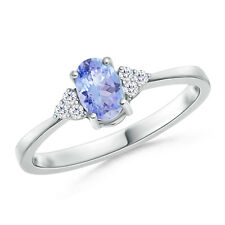 Solitaire Oval Tanzanite and Diamond Promise Ring 14K White Gold Size 3-13