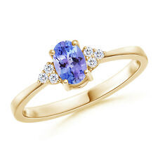 Solitaire Oval Tanzanite With Diamond Promise Ring 14K Yellow Gold Size 3-13