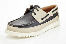 mens slip on casual boat shoes loafers spring summer beige & gray comfort laces