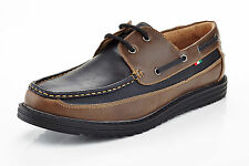mens slip on casual boat shoes loafers spring summer black & brown comfort laces