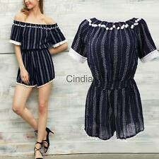 Summer Women Holiday Mini Off Shoulder Playsuit Lady Jumpsuit Romper Beach Dress