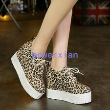 Fashion Womens Leopard Creepers Wedges Heels Casual Autumn Shoes ALL US Sz 10