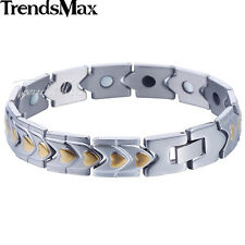 12mm Mens Women Stainless Steel Silver Gold Tone Heart Chain Bracelet Bangle