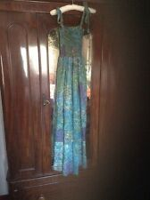 floaty elasticated bust indian cotton peacock feathers maxi dress festival 8 10