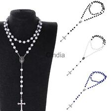 Fashion Womans Mens Cross Pendant Faux Pearls Rosary Beads Necklace Silver Tone