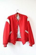 Vintage 40s Red Letterman white leather wool Varsity college coat jacket