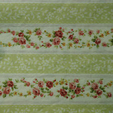 Quilt Fabric Cotton Calico Quilting FQ Light Green Floral Stripe: Emma FQ or BTY
