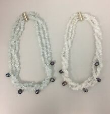 New Natural Rock Crystals and Pearls 3 Strands Necklace Pale Blue or White