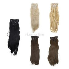 Clip In Hair Extensions Long Straight Curly Full Head Human Hairpiece Hot women